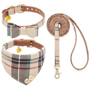 Bow Tie Dog Collar and Leash Set Classic Plaid